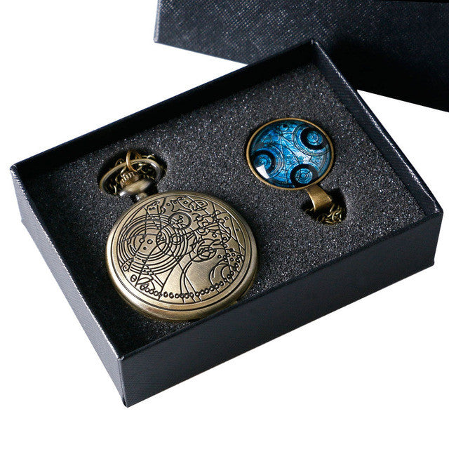Time Lord Pocket Watch and Necklace Gift Box