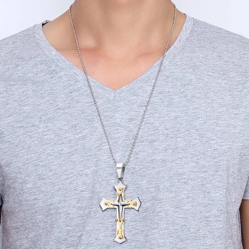 Gold Plated Cross Stainless Steel Necklace