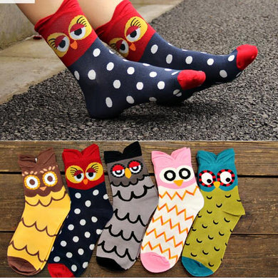 5 Pairs Of Cute Owl Socks