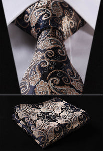Gold Navy Blue Paisley Floral Tie and Handkerchief