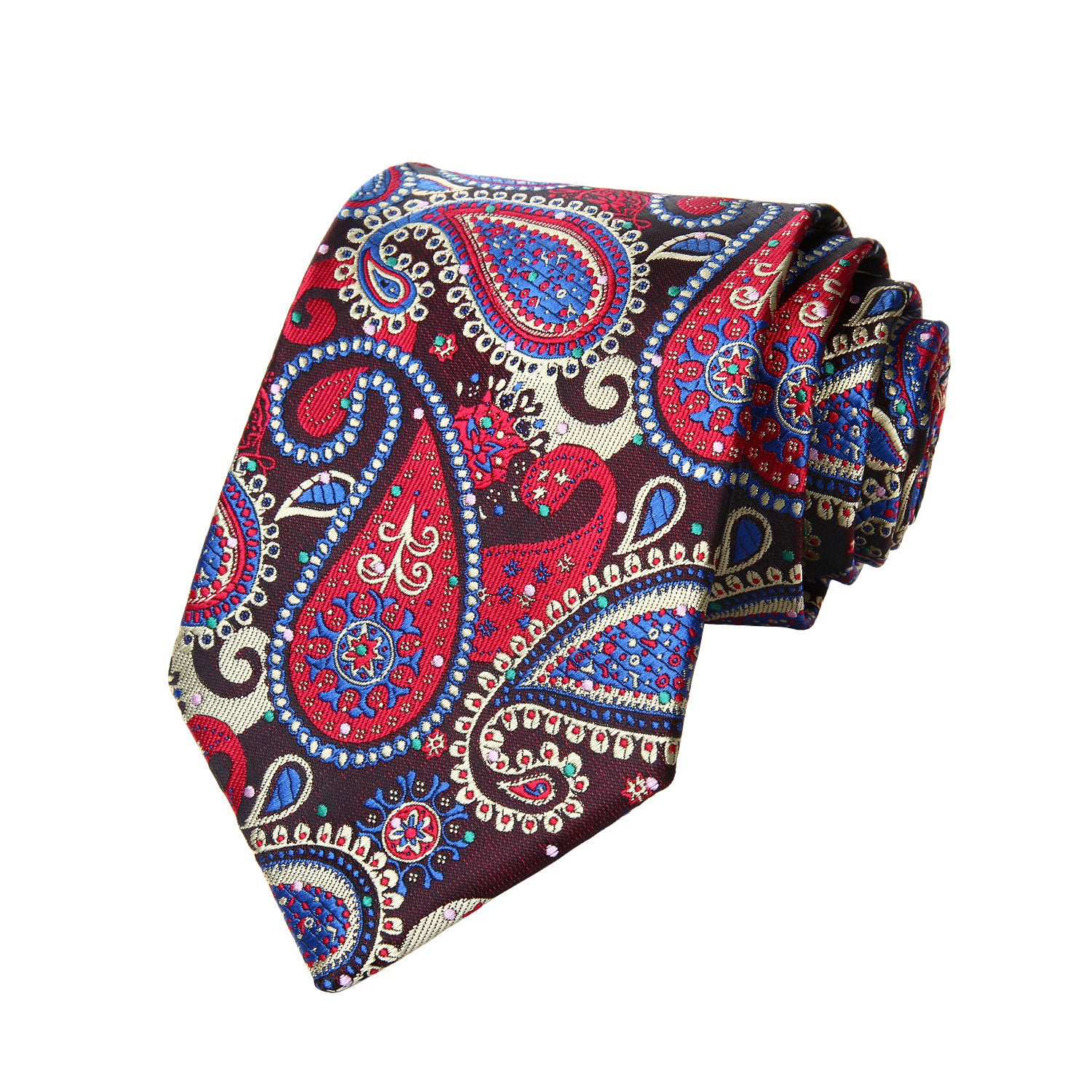 Blue Red Green Tie and Handkerchief