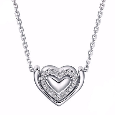 Crystal Double Heart 925 Sterling Silver