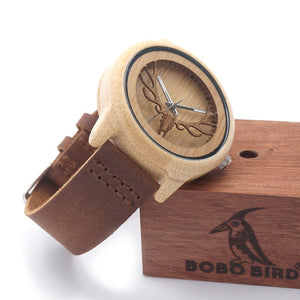 Deer Head Bamboo Wood Casual Watch With Genuine Leather Strap