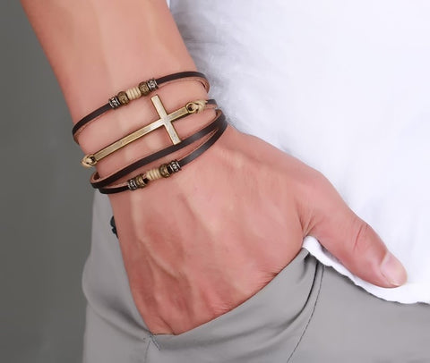 Vintage Leather Cross Bracelets