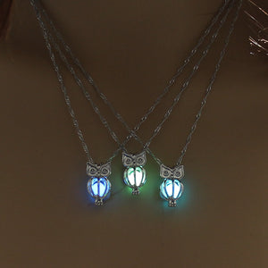 Glowing In Dark Owl Pendant Necklace