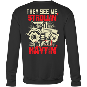 They See Me Strollin' They Haytin' - Trendy Gear-Crewneck Sweatshirt / Black / S-T-shirt - 3