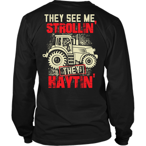 They See Me Strollin' They Haytin' - Trendy Gear-District Long Sleeve / Black / S-T-shirt - 4
