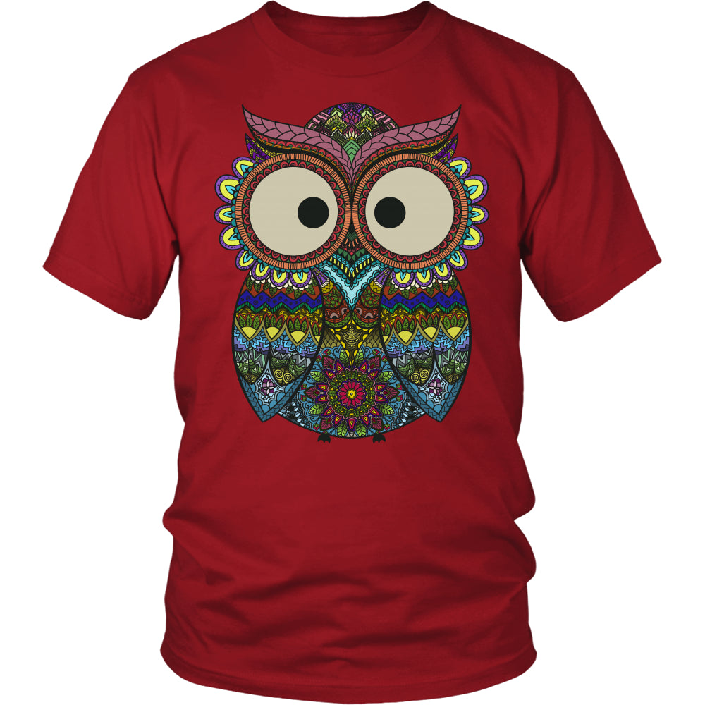 Owl Color - Trendy Gear-District Unisex Shirt / Red / S-T-shirt - 1