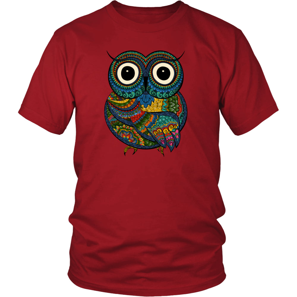 Owl Color 2 - Trendy Gear-District Unisex Shirt / Red / S-T-shirt - 1