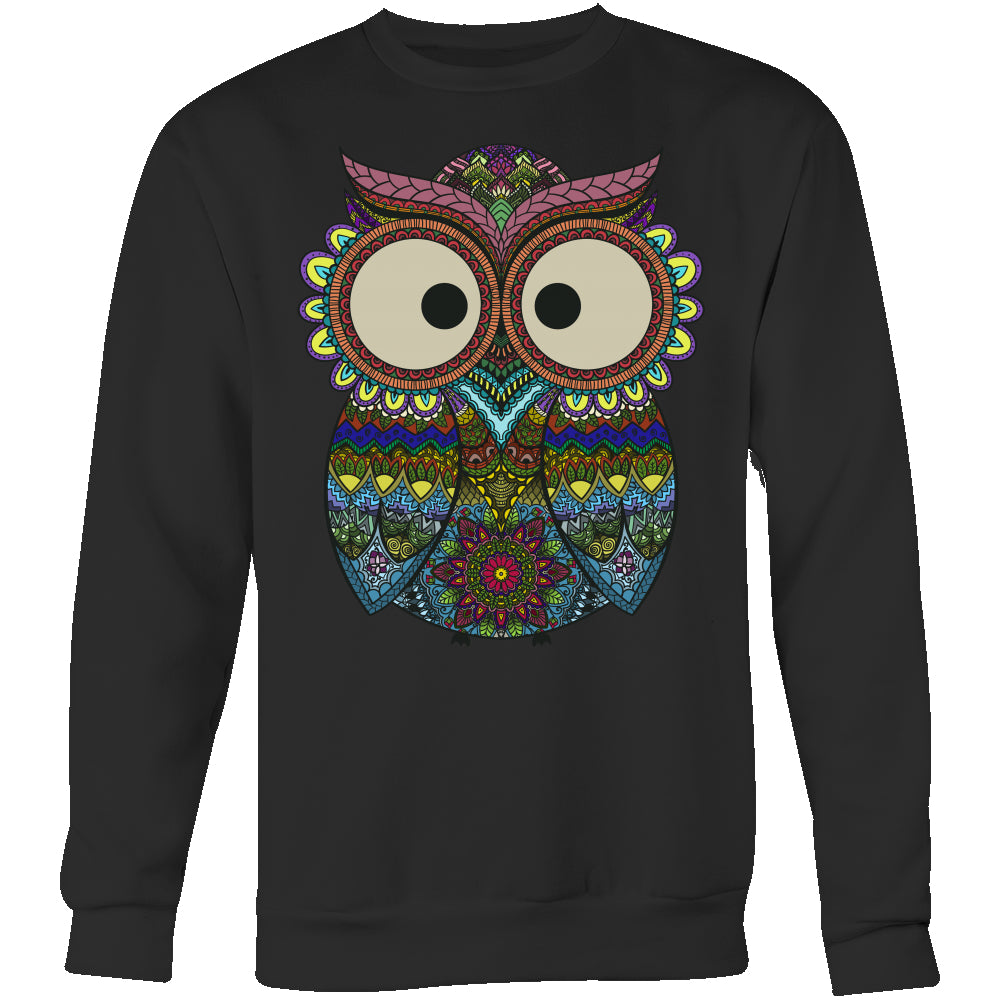 Owl Color - Trendy Gear-Crewneck Sweatshirt / Black / S-T-shirt - 6