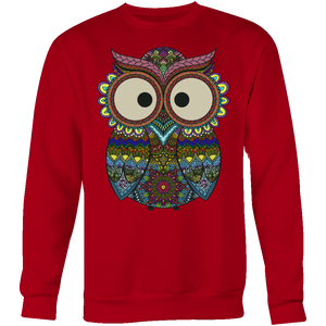 Owl Color - Trendy Gear-Crewneck Sweatshirt / Red / S-T-shirt - 7