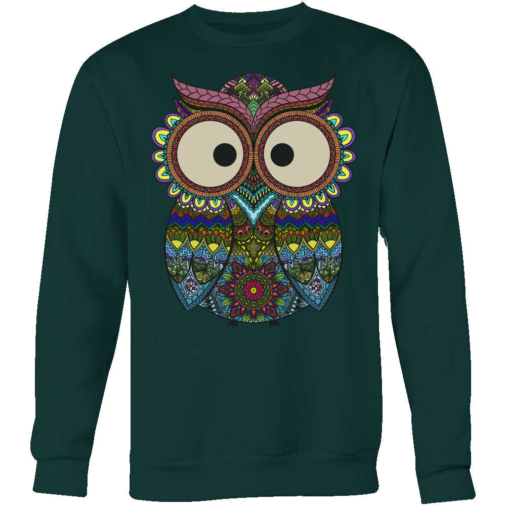 Owl Color - Trendy Gear-Crewneck Sweatshirt / Dark Green / S-T-shirt - 8