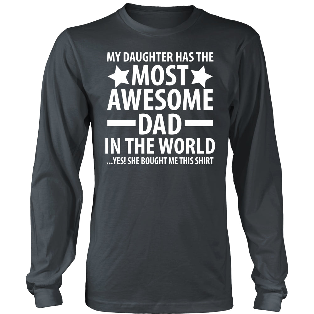 The Most Awesome Dad - Trendy Gear-District Long Sleeve / Charcoal / S-T-shirt - 7