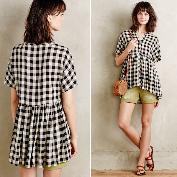 Anthropologie Checked Swing Top