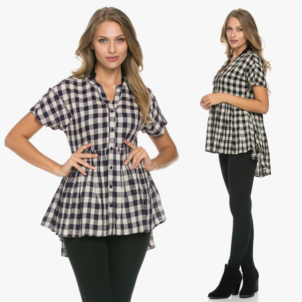 Cheerful Chic Checked Swing Top
