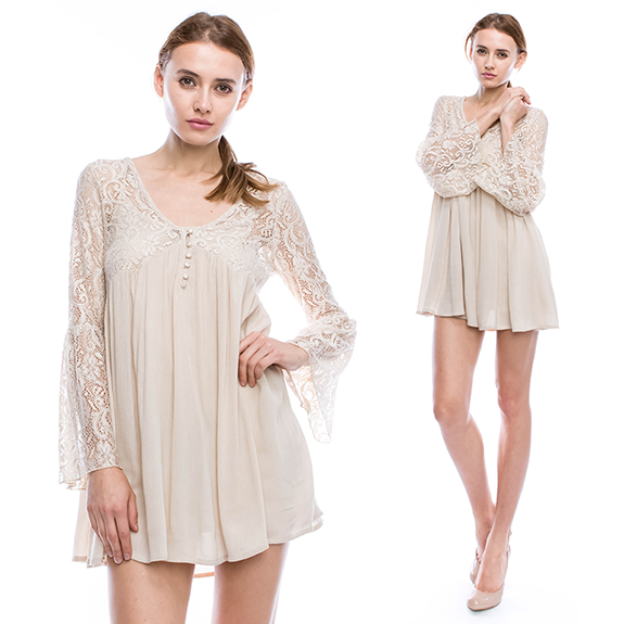 Mono B Bell Sleeve Lace Dress