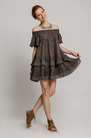 Esmeralda Off the Shoulder Lace Dress
