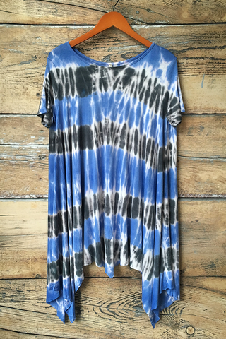Short Sleeve Tie Dye Tunic Top