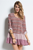Boho Roll-Up Sleeve Layered Ruffle Sweater