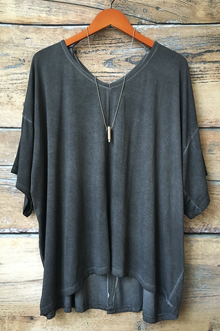 Charcoal Dolman Sleeve Knit Top