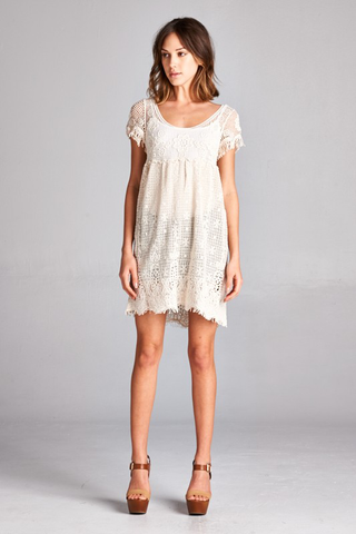 Ivory Crochet Babydoll Dress