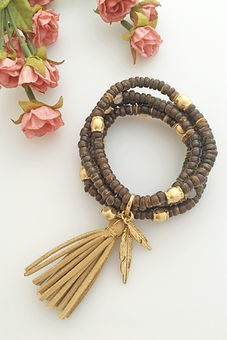 Chunky Beaded Fringe Feather Bracelet