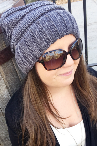 CC Cable Knit Marled Slouchy Beanie