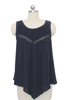 Navy Woven Tank with Embroidered Yoke