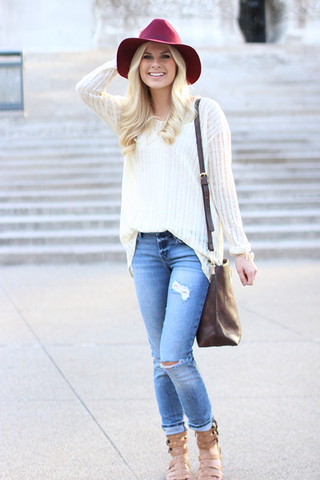 Distressed Long Sleeve Knit Top