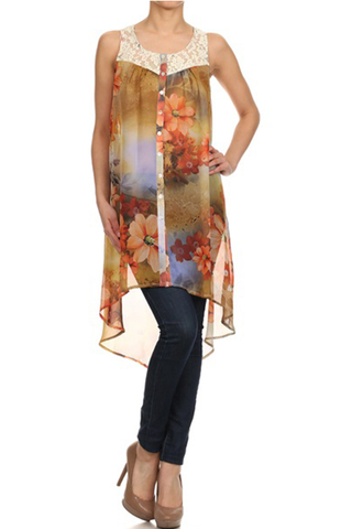 Floral Print Hi-Low Tunic