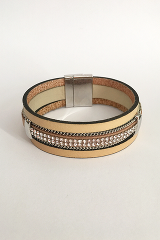 Handmade Leather Wrap Bracelet With Crystals