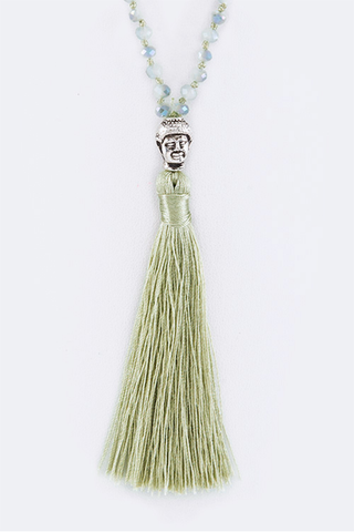 Beaded Buddha Tassel Necklace