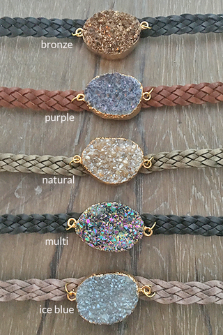 Handmade Braided Leather Druzy Bracelet