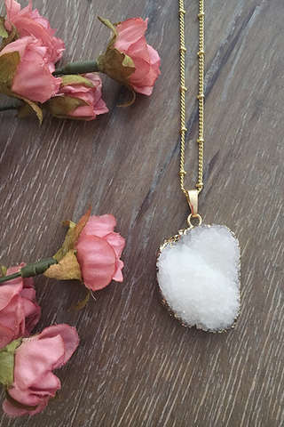 White Druzy Satellite Necklace