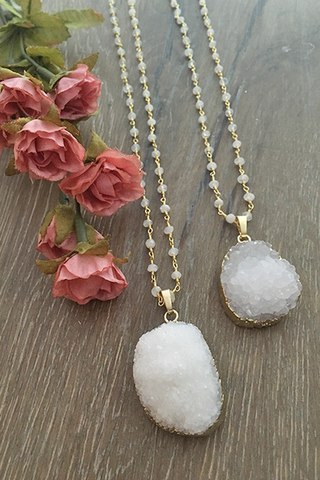 White Druzy Moonstone Beaded Necklace