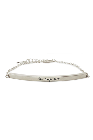 Kitsch Live, Laugh, Love Silver Bar Bracelet