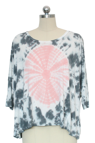 Pink & Gray Quarter Sleeve Tie Dye Top
