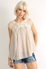 Cap Sleeve Lace Knit Top