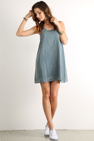Sleeveless Denim Embroidered Dress