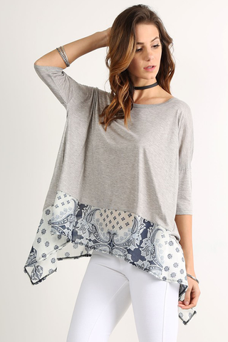 Paisley Trim Crew Neck Top