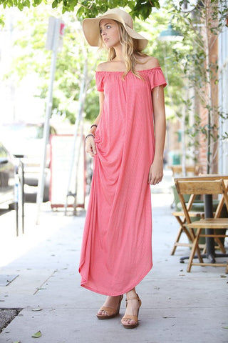 Off Shoulder Striped Maxi Dress