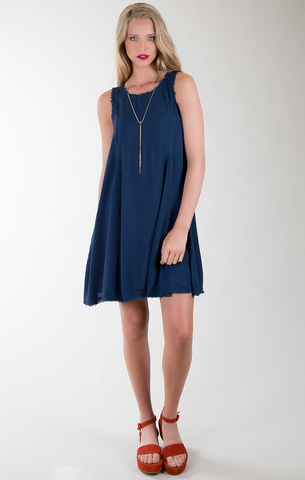 Laurel Canyon Frayed Sleeveless Swing Dress