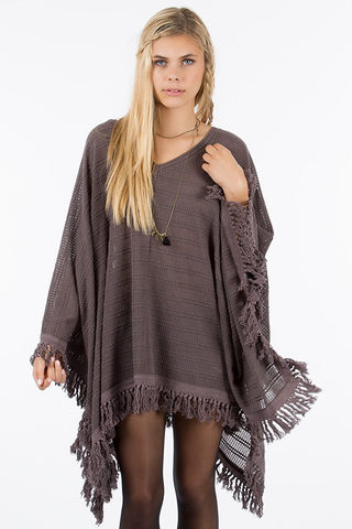 Fringed Knit Poncho