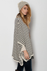 Oversized Striped Poncho Sweater