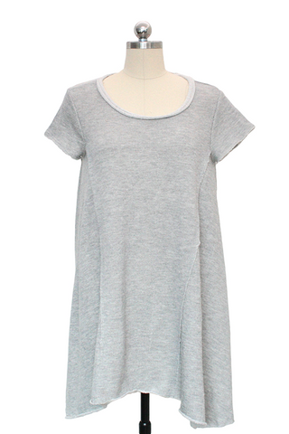 Short Sleeve Raw Hem Dress