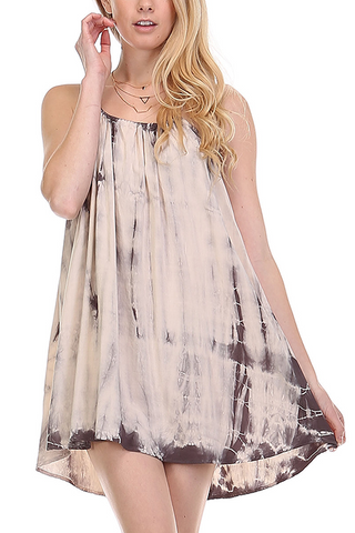 Tie Dye Drawstring Knit Dress