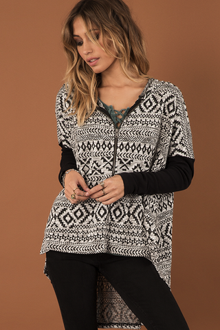 Black Rock Tribal Print Poncho