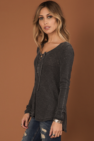 Untamed Long Sleeve Lace-Up Thermal Tee