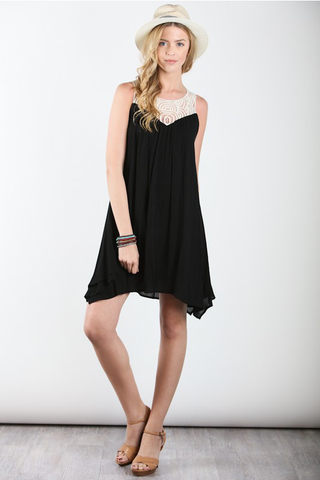 Crochet Yoke Chiffon Dress