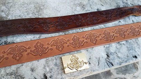 Custom Everyday Leather Belt with Replicated Design Pattern made by WestEast Armory